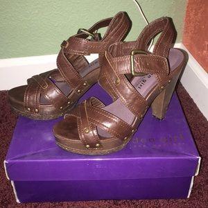 Madden Girl brown ankle strap platform heels